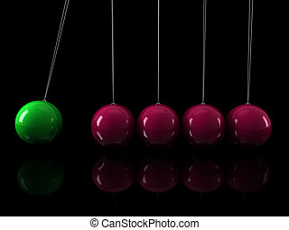3d green pink pendulum