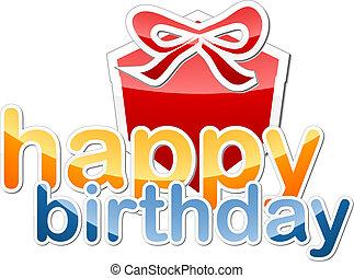 Happy Birthday sticker icon illustration