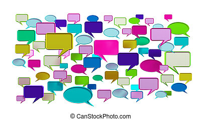 Pink colorful conversation icons - This colorful...