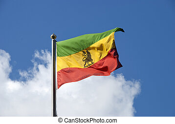 Ethiopian Flag - An Ethiopian Flag fluttering in the wind...