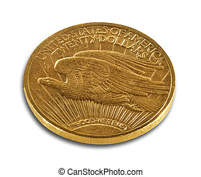 Gold coin double eagle on white, isolated with clipping path