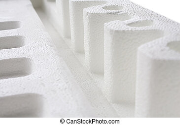 close up of Polystyrene padding for product packaging -...