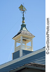 Weathervane in the form of a sailing ship on a roof cupola