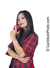 Asian woman and apple