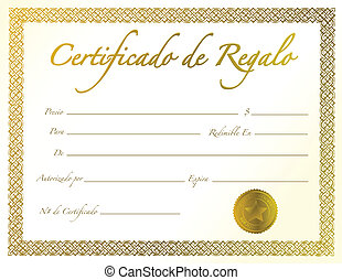Spanish - Gold Gift Certificate with golden seal and design...