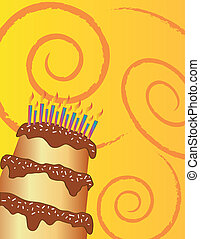 Birthday chocolate cake on yellow background Also available...