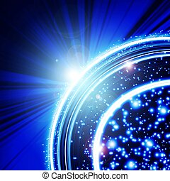 blue background with planet and rays