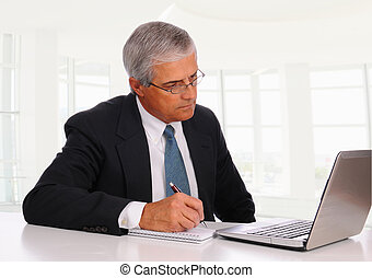 Middle Age Businessman at desk with Laptop - Smiling Middle...