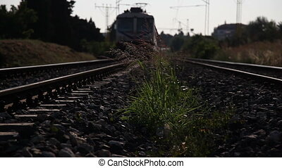 passenger train passing from the bottom up, shoot Canon 5D...