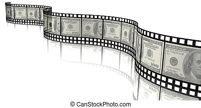 money film - 3d illustration of money and Film Strip