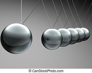 pendulum  - Close up of Newton\'s cradle - 3d render