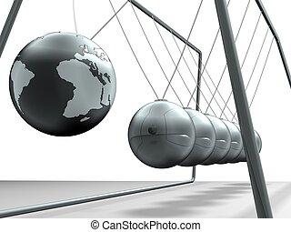 pendulum - Close up of Newtons cradle - 3d render
