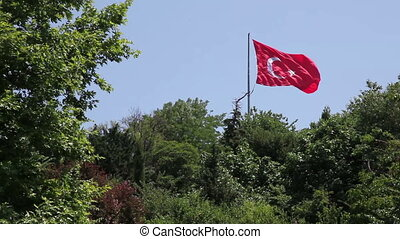Turkish Flag 2 - Turkish flag is flying in the sky, Shooting...