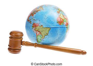 World Globe and Gavel on White Background