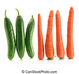 Carrots and Lebanese Cucumbers on White Background