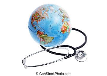 World Globe and Stethoscope on White Background