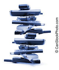 Stack of Mobile Phones on White Background