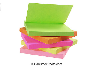 Post-it Notepads on White Background