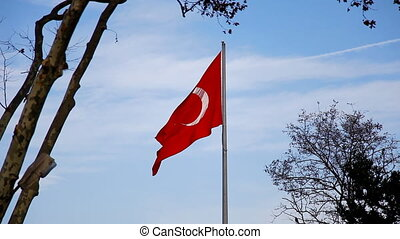 Turkish Flag - Turkish flag is flying in the sky, Shooting...