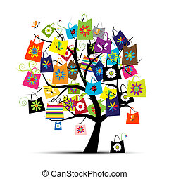 compras, Bolsas, árbol, su, diseño