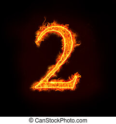 fire numbers, 2 - a series of fire numbers in flame, 2 or...