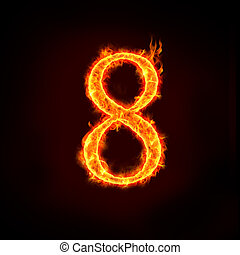 fire numbers, 8 - a series of fire numbers in flame, 8 or...