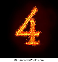 fire numbers, 4 - a series of fire numbers in flame, 4 or...