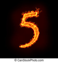 fire numbers, 5 - a series of fire numbers in flame, 5 or...