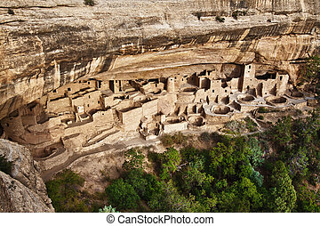 Cliff Palace in Mesa Verde National Park, Colorado - View of...