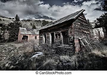 Old abandoned miner house in Colorado - HDR image of the old...