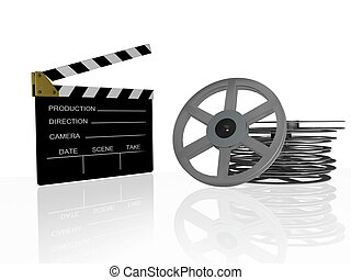 clap board - 3d illustration of cinema