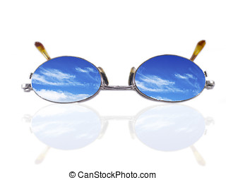future vision - Eyeglasses with blue sky and clouds...