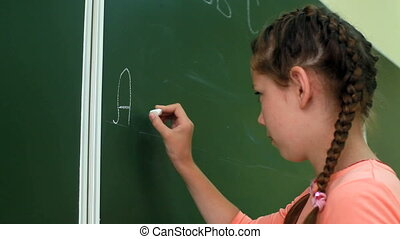 ABC training  - Little girl writing ABC on blackboard