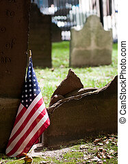 Graveyard with American flag in St Pauls churchyard near...