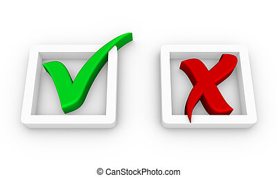 yes and no - check boxes with positive and negative check...