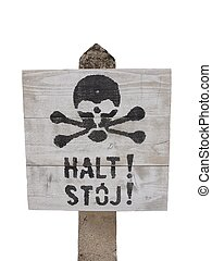Warning sign stop in Auschwitz, isolated on white...