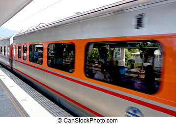 Passing Train ,Taiwan - a passing train drive into station