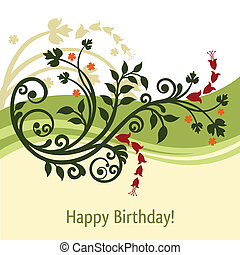 Green and yellow birthday card vector illustration
