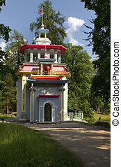 "St. Petersburg, Russia - ""Chinese pavilion"" in Pushkin, near..."