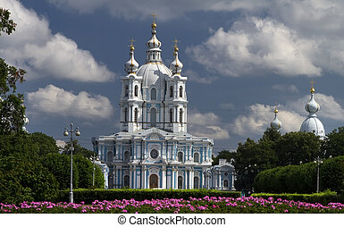 St Petersburg, Russia - Smolny Cathedral in St Petersburg,...