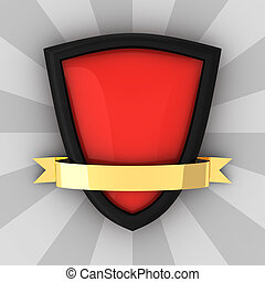 Red blank shield with golden ribbon
