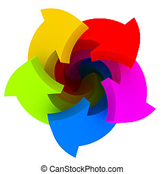Five color arrows - Five vibrant arrows of colours of a...