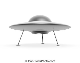 ufo disc - 3d ufo disc landing on white background