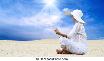 hermoso, blanco, soleado, joven, relajación, desierto, mujeres