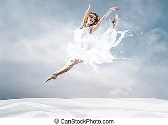 salto, bailarina, Vestido, leite