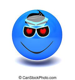 blue smiley in love