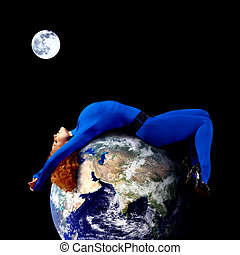 Woman in blue sleeping on the planet in space