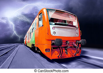 Orange train on speed outdoor