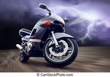 Motorcycle outdoor on speed
