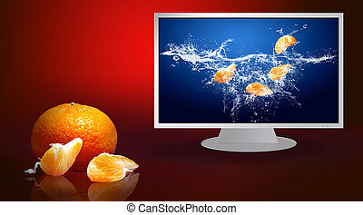 Fresh fruits in water on monitor - Fresh fruits in water on...
